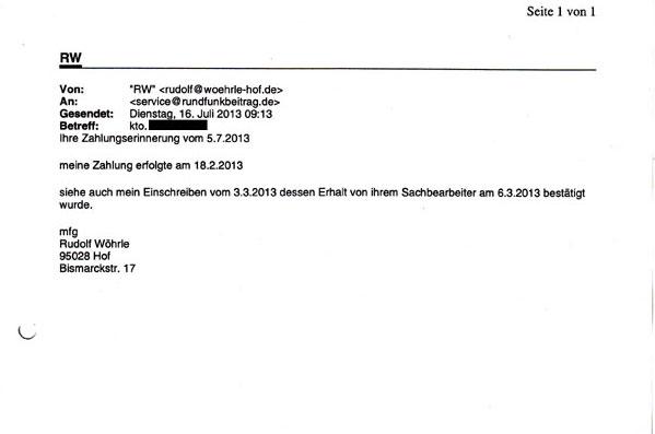 Juli Bis Dez 2013 26 Juni 2014 Rundfunkbeitrag Nicht Zahlen