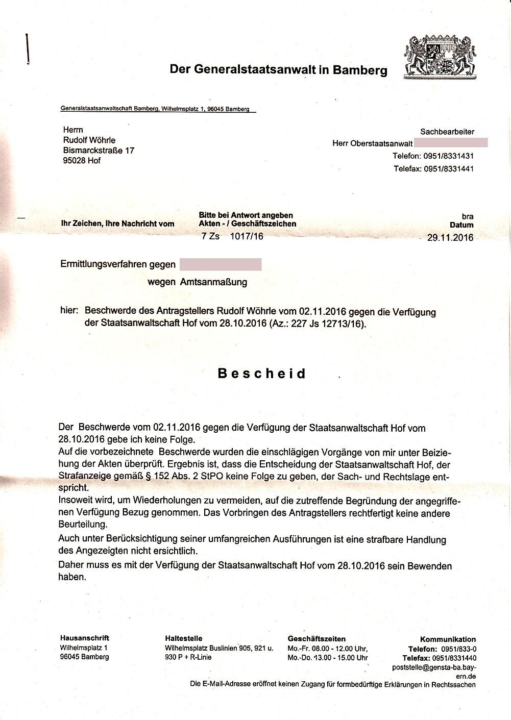 Die Generalstaatsanwaltschaft Bamberg | Rundfunkbeitrag nicht zahlen